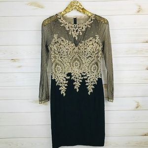 e737ce93 Xscape Dresses   Long Sleeve Sheer Beaded Dress Tangold   Poshmark